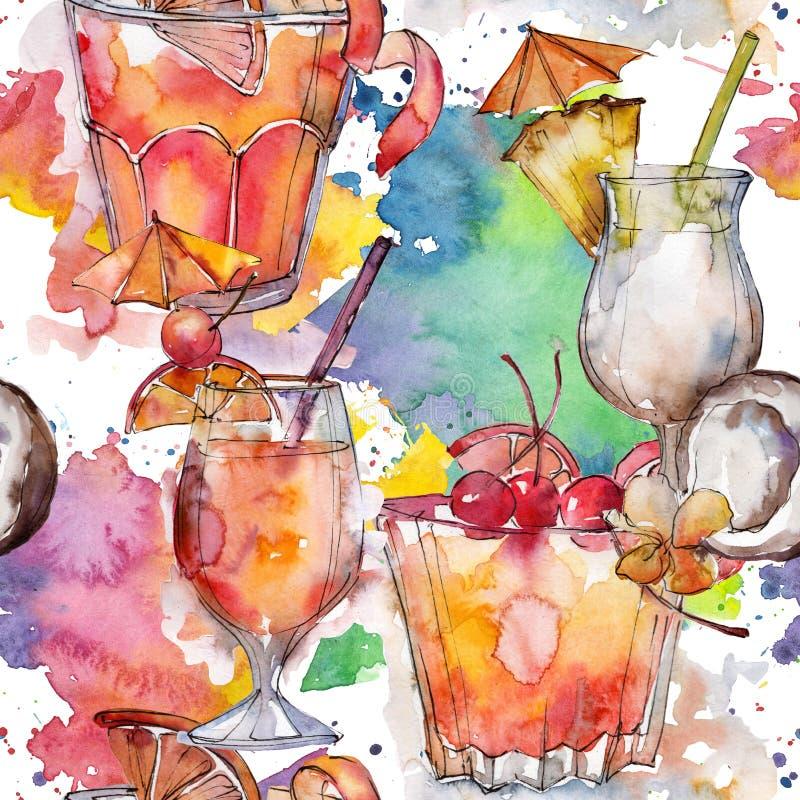 A praia bebe a bebida do cocktail do partido da barra Álcool no grupo do vidro, ilustração do menu do restaurante ilustração royalty free