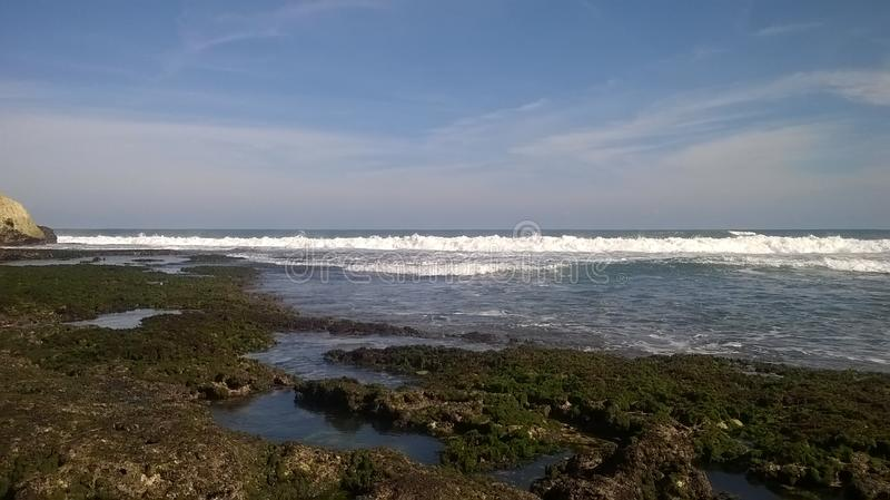 A praia bonita, céu no mundo, paraíso perdeu, fotográfico, panorâmico foto de stock