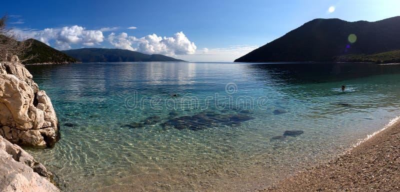 Praia bonita da vista panorâmica com água clara de turquesa em um dia ensolarado no mar Ionian na ilha de Kefalonia em Grécia fotos de stock royalty free