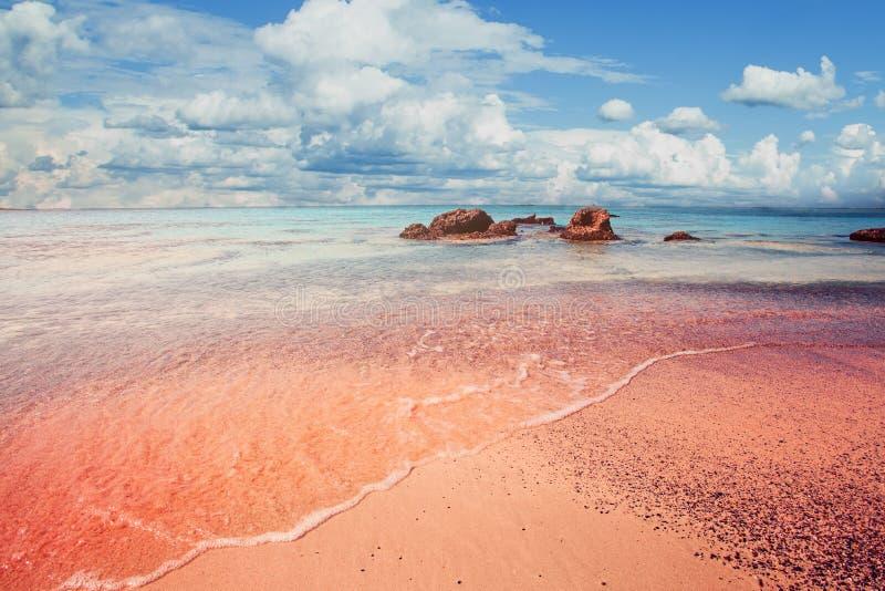 Praia bonita de Elafonissi na Creta, Grécia Areia cor-de-rosa, água do mar azul e céu das nuvens imagem de stock