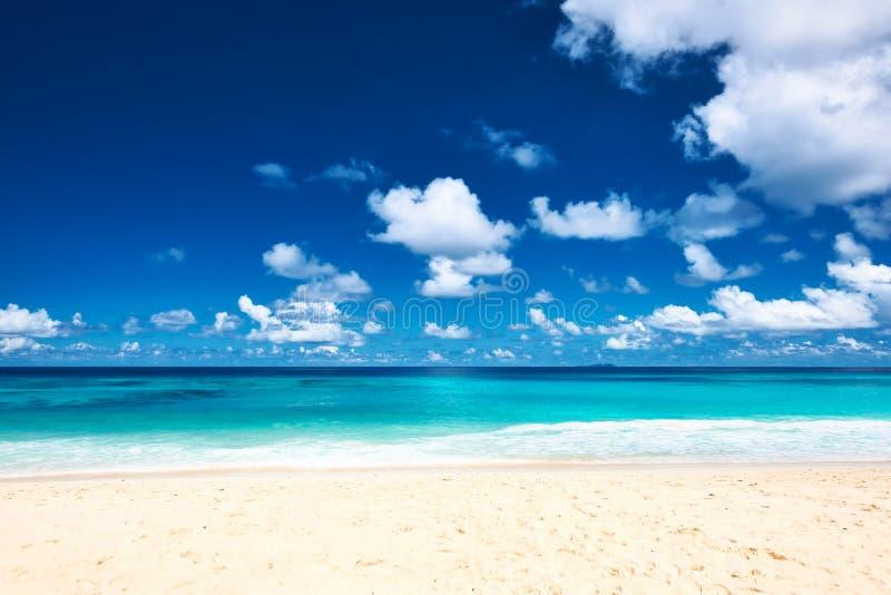 Praia bonita em Seychelles imagem de stock royalty free
