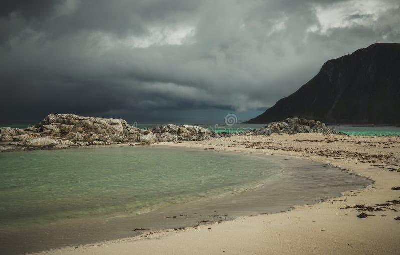 Praia bonita Skagsanden em Flakstad, ilhas de Lofoten em Noruega nas horas de verão imagem de stock royalty free
