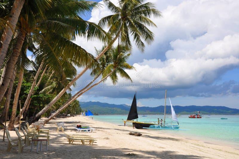 Praia branca bonita da areia em Boracay fotografia de stock