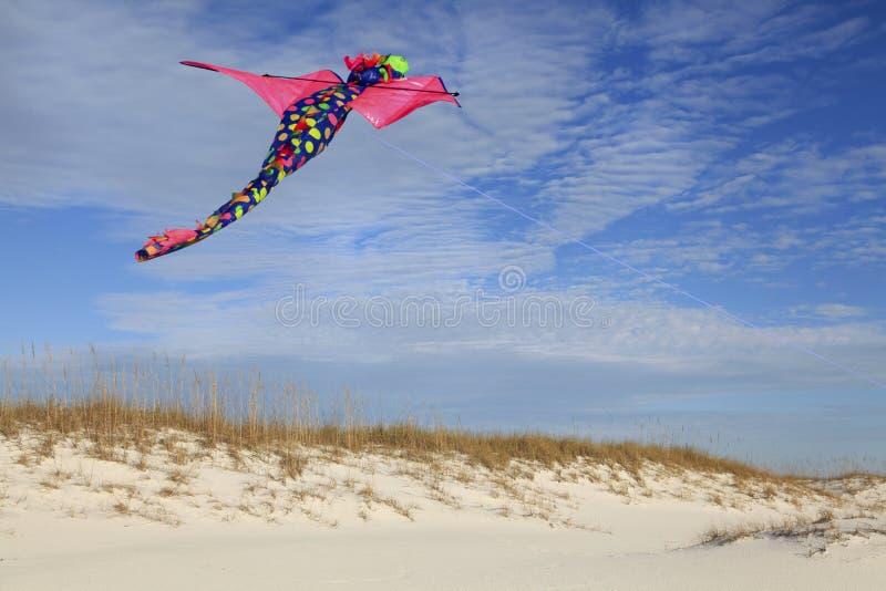 Praia branca da areia de Dragon Kite Flying Over Beautiful foto de stock