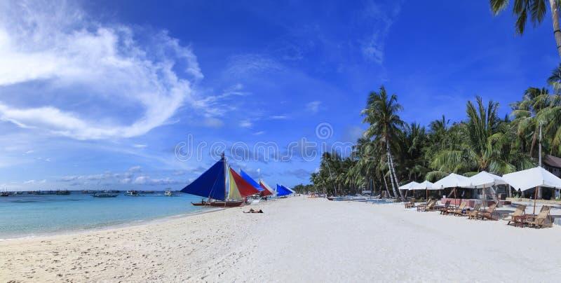 Praia branca Filipinas do console de Boracay foto de stock