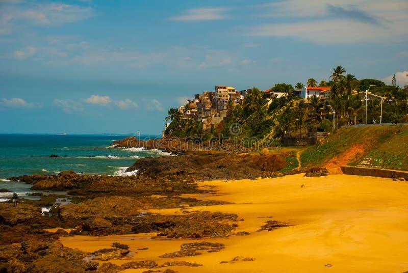 Praia brasileira com areia amarela e mar azul no tempo ensolarado brasil salvador ?m?rica do Sul imagens de stock royalty free