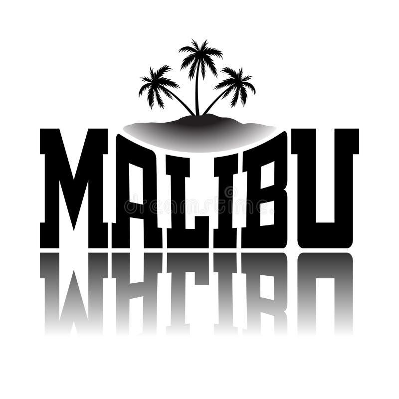 Praia Califórnia de Malibu dos gráficos da tipografia da camisa de T ilustração do vetor