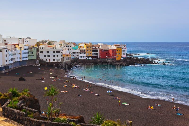 Praia canário na ilha de Puerto de la Cruz - de Tenerife fotos de stock royalty free