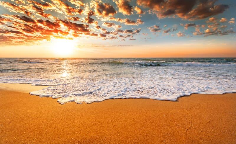 Praia colorida do oceano foto de stock royalty free