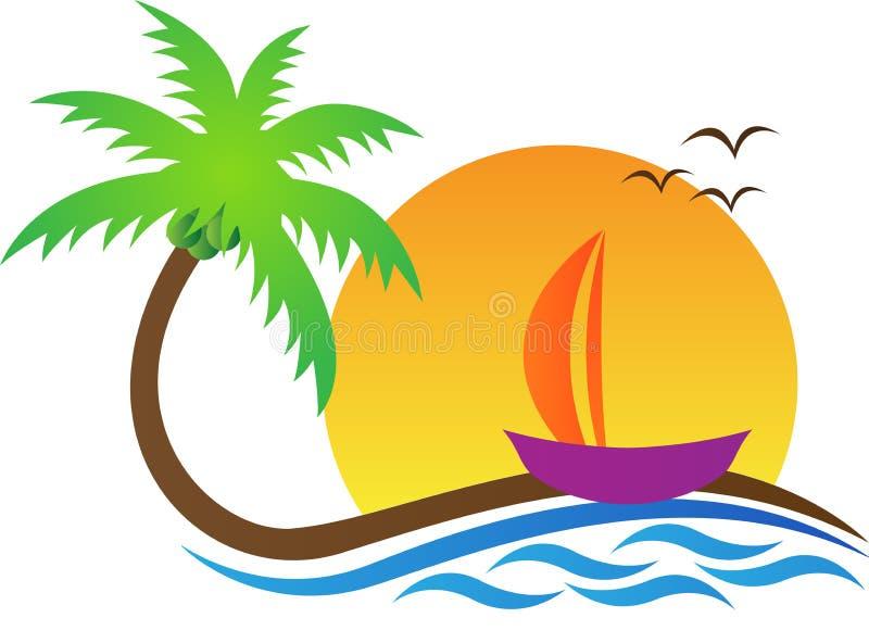 Praia com árvore ilustração do vetor