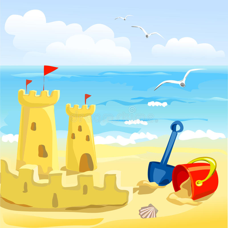 Praia com brinquedos e castelos de areia das crianças ilustração do vetor