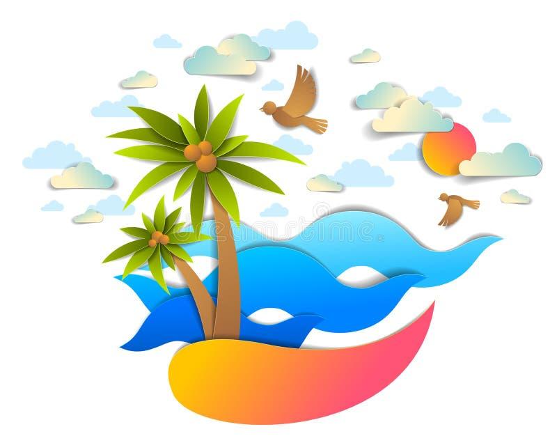 Praia com palmas, seascape perfeito das ondas do mar, nuvens dos p?ssaros e sol no c?u, vetor do estilo do corte do papel do tema ilustração royalty free
