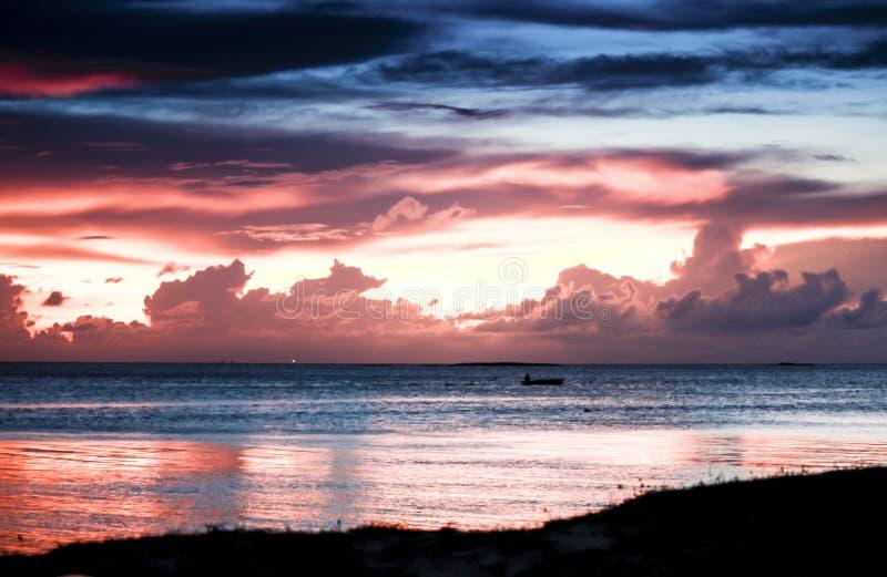 Praia com por do sol fotos de stock royalty free