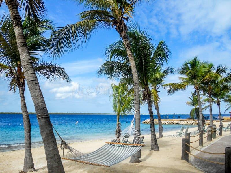 Praia da areia em Bonaire fotografia de stock royalty free