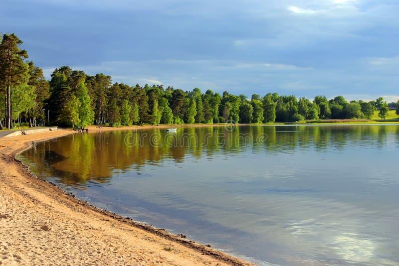 Praia da areia em sweden fotografia de stock royalty free
