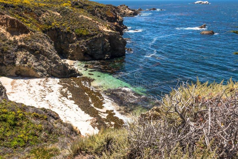 Praia da areia na baía de Monterey, Califórnia imagens de stock