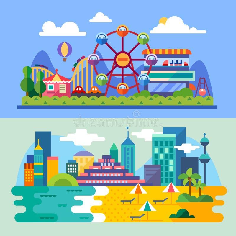 Praia da cidade do verão, paisagens do parque de diversões ilustração royalty free