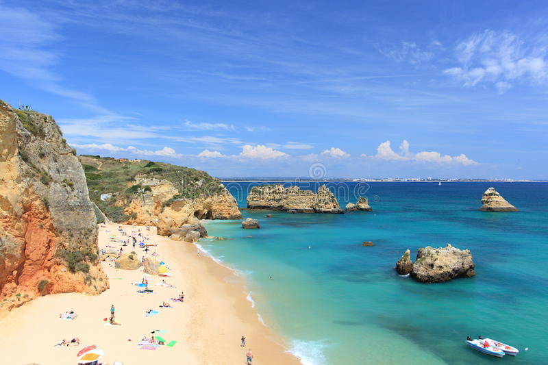 Praia da Dona Ana at Lagos on the Algarve in Portugal royalty free stock photo