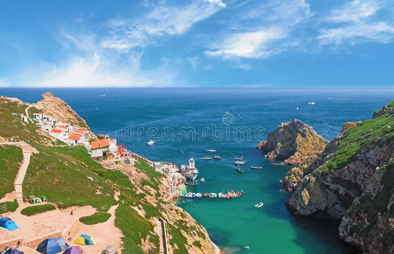 Praia da ilha de Berlenga, Portugal fotografia de stock