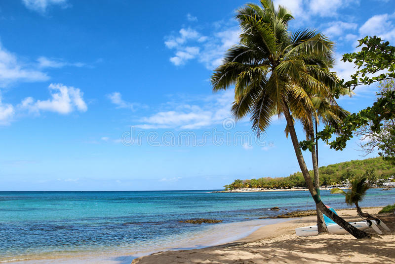 Praia da ilhota de Gros, St Lucia foto de stock