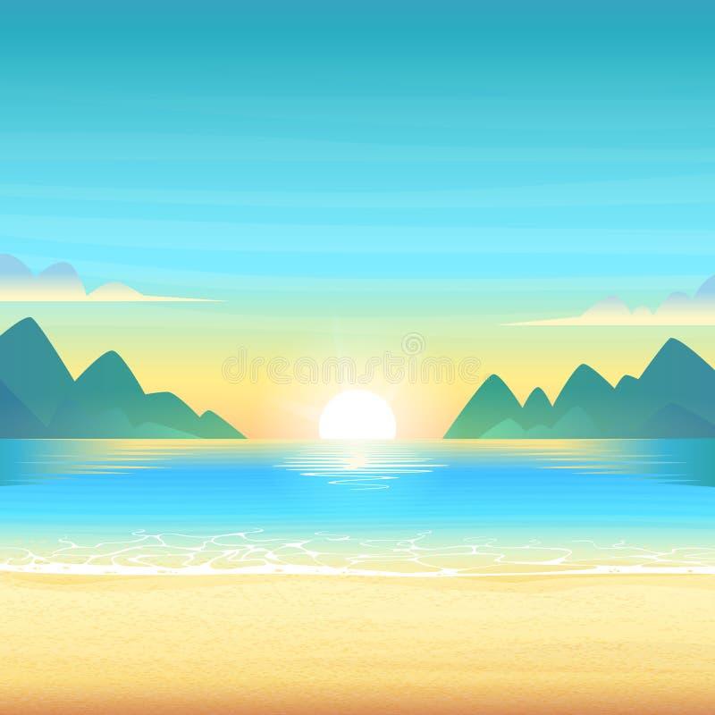 Praia da noite no por do sol com água, as nuvens e as montanhas calmas limpas no horizonte Ilustração dos desenhos animados do ve ilustração stock