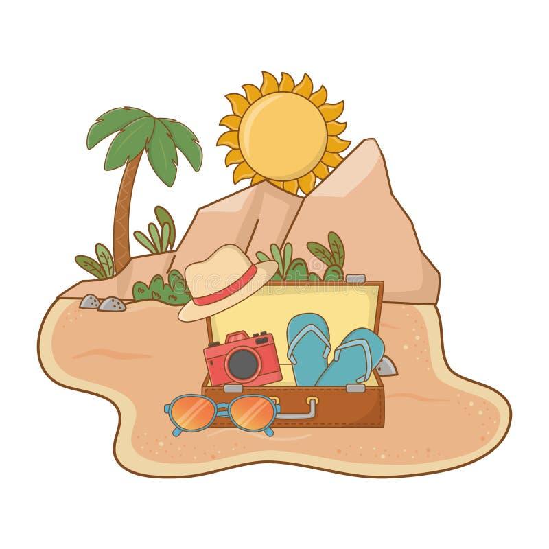 Praia da paisagem na areia ilustração stock