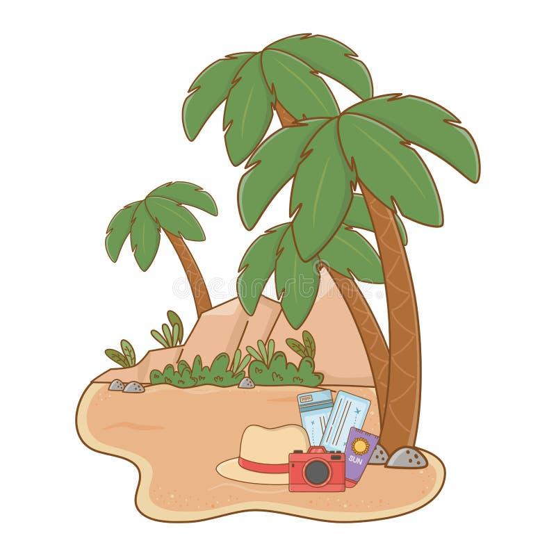 Praia da paisagem na areia ilustração do vetor