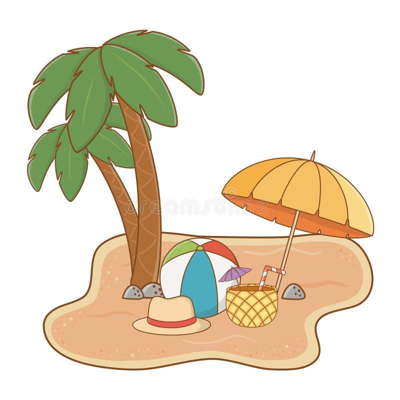 Praia da paisagem na areia ilustração royalty free