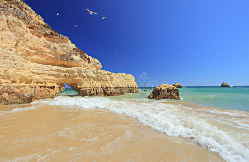 Praia da Rocha beach in Portimao, Algarve royalty free stock photos