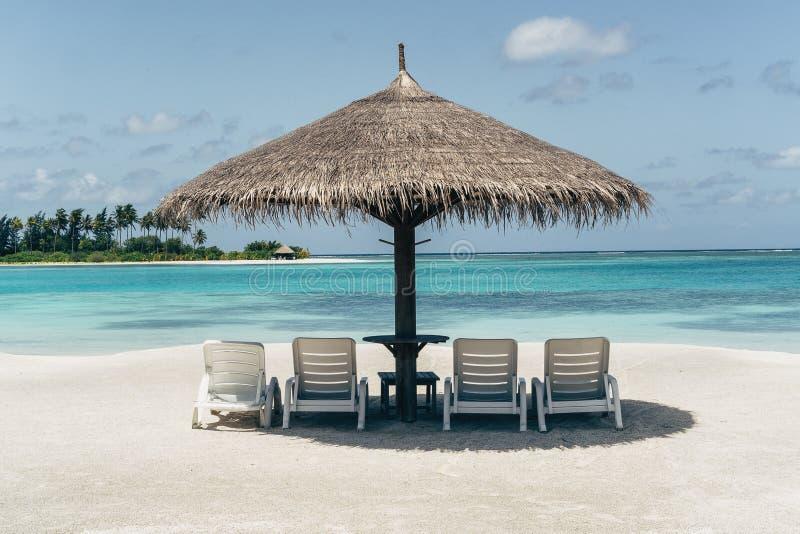 Praia das caraíbas do paraíso com guarda-chuva e redes imagens de stock royalty free