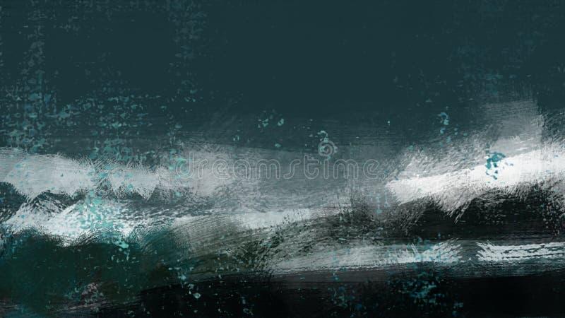 A praia das ondas de água do oceano refresca a pintura da ilustração das férias ilustração stock