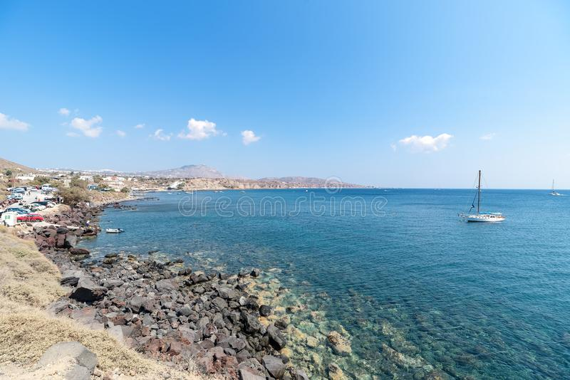 Praia de Akrotiri - ilha de Santorini Cyclades - Mar Egeu - Grécia imagem de stock royalty free