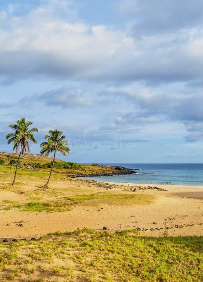 Praia de Anakena na Ilha de Páscoa, o Chile fotos de stock