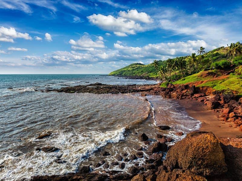 Praia de Anjuna, Goa imagens de stock