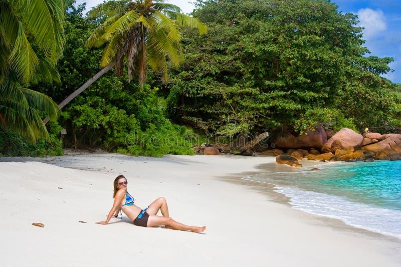 Praia de Anse Lanzio foto de stock