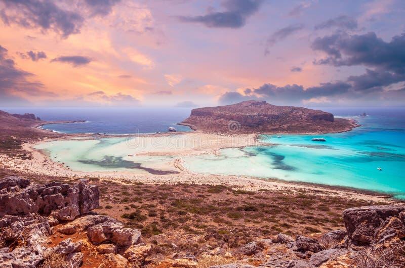Praia de Balos, ilha de Grécia fotografia de stock royalty free