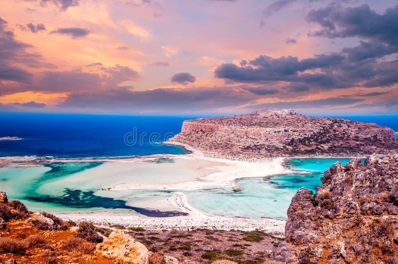 Praia de Balos, ilha de Grécia imagem de stock