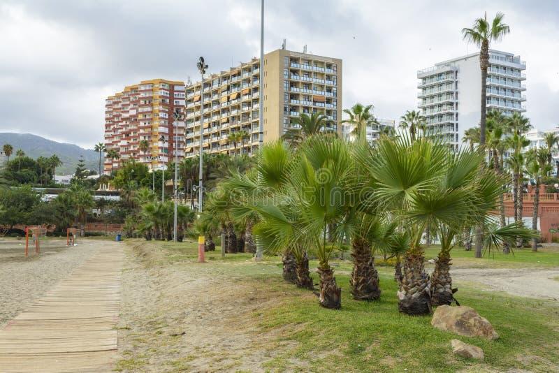 Praia de Benalmadena, província de Andalucia, Espanha imagens de stock
