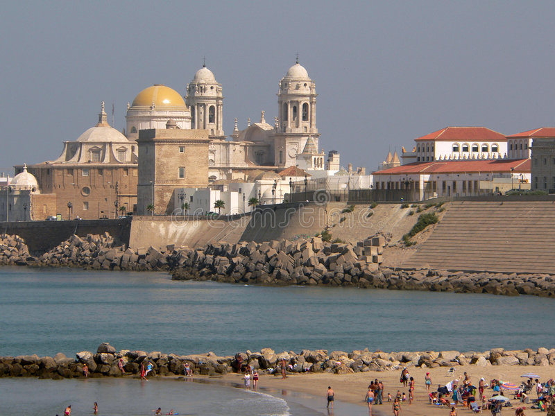 Praia de Cadiz foto de stock royalty free