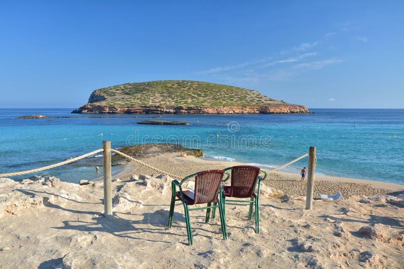 Praia de Cala Comte em Ibiza fotos de stock