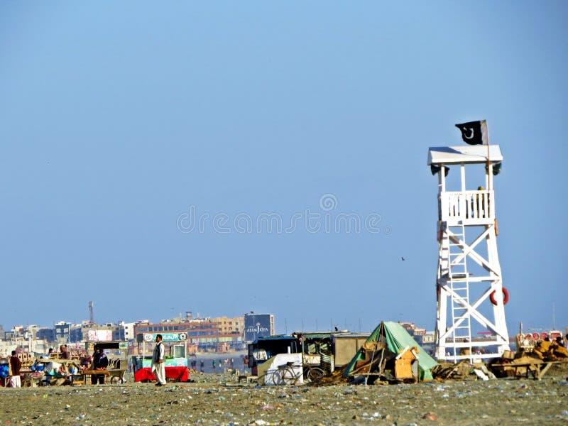 Praia de Clifton, Karachi, Paquistão imagens de stock