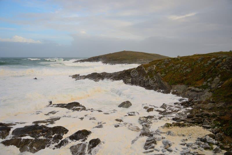 Praia de Fistral em Cornualha imagem de stock