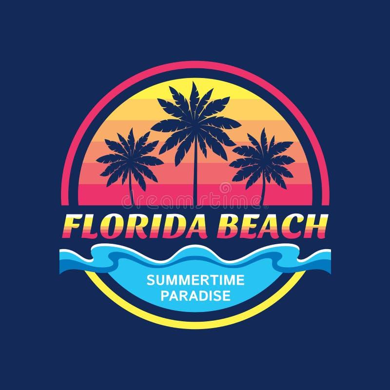 Praia de Florida - conceito da ilustração do vetor no estilo gráfico do vintage retro para o t-shirt e a outra produção da cópia  ilustração do vetor