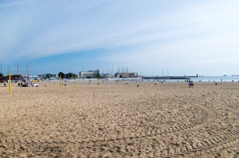 Praia de Gdynia na manhã fotografia de stock royalty free