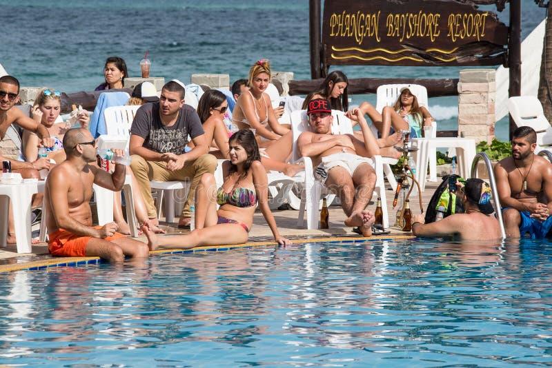 Praia de Haad Rin antes das celebrações do ano novo Ilha Koh Phangan, Tailândia fotografia de stock royalty free