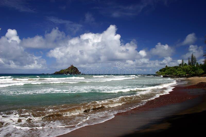 Praia de Hana no console de Maui, Havaí fotografia de stock