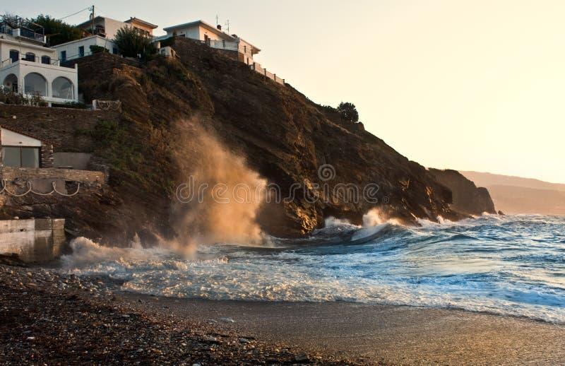 Praia de Ikaria Karavostamo imagem de stock