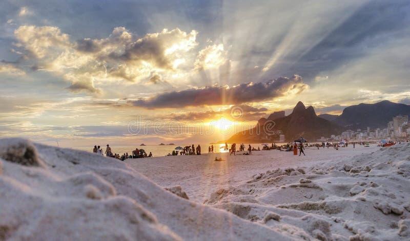 Praia de Ipanema Sunset photos stock
