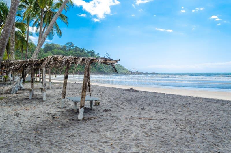 Praia de Itacarezinho, banco de madeira com tampa seca da palha na areia da praia foto de stock