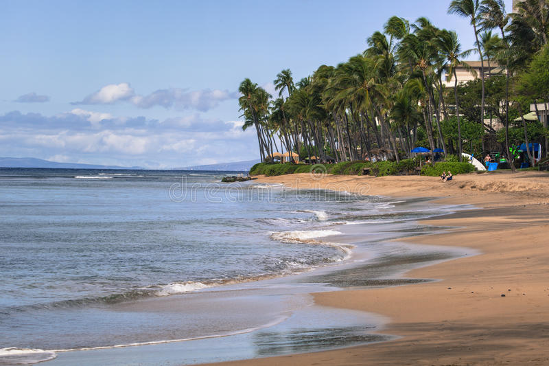Praia de Kaanapali, destino do turista de Maui Havaí imagem de stock royalty free